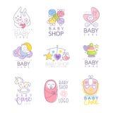 Baby shoppar uppsättningen för logodesignen, hand drog vektorillustrationer Arkivfoto