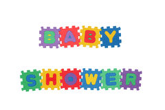 Baby Shower. Message BABY SHOWER from letter puzzle, isolated on white Royalty Free Stock Images