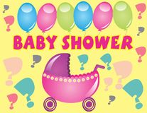 Baby Shower. Celebration with pink stroller, and ballons background with questions marks Royalty Free Stock Images