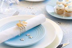 Baby shower. Table setting for a baby shower Royalty Free Stock Photography