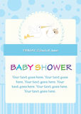 Baby shower. Blue design with stork Royalty Free Stock Image