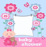 Baby shower. A invitation or celebration card Stock Photography