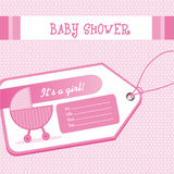 Baby shower. Pink baby shower card with baby carriage over tag. vector illustration Royalty Free Stock Photos