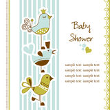 Baby shower. Baby arrival announcement card with funny birds Stock Images