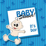 Baby shower. Card with boy and label baby shower it's boy Royalty Free Stock Images