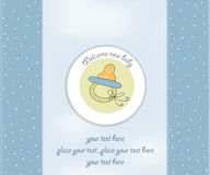 Baby shower announcement. Baby boy shower announcement  with pacifier Royalty Free Stock Photography