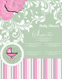 Baby Shower Announcement. Template frame design for baby announcement or greeting card stock illustration