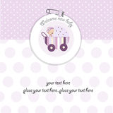 Baby shower announcement card with pram. Baby girl shower announcement card with pram Royalty Free Stock Photo