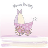 Baby shower announcement card with pram. Baby girl shower announcement card with pram Stock Image