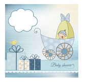 Baby shower announcement card with pram. In  format Royalty Free Stock Photo