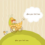Baby shower announcement card with pram Stock Photography