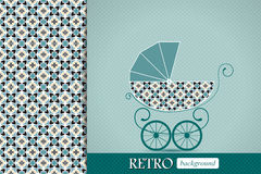 Baby shower announcement, invitation, birthday retro card with baby carriage Stock Photo