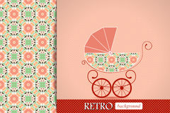 Baby shower announcement, invitation, birthday retro card with baby carriage Royalty Free Stock Photos