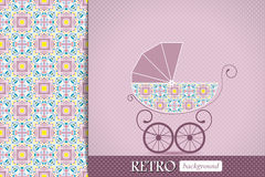 Baby shower announcement, invitation, birthday retro card with baby carriage Stock Photos