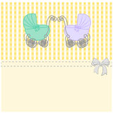 Baby shower announcement twins, vintage baby stroller invitation or card on the birthday,  background illustration Stock Image