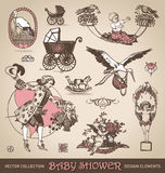 Baby shower antique design elements set (vector). Vintage collection of baby shower antique design elements royalty free illustration