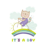 Baby Shower or Arrival Card - Baby Cat on a Bike Royalty Free Stock Photos