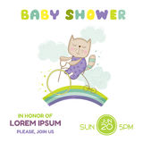 Baby Shower or Arrival Card - Baby Cat on a Bike Royalty Free Stock Photo