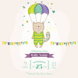 Baby Shower or Arrival Card - Baby Cat Flying with a Parachute Stock Images