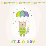 Baby Shower or Arrival Card - Baby Cat Flying with a Parachute Stock Photo