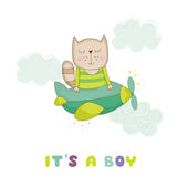 Baby Shower or Arrival Card - Baby Cat Flying on a Plane Royalty Free Stock Photography