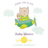 Baby Shower or Arrival Card - Baby Cat Flying on a Plane Royalty Free Stock Photo