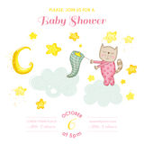 Baby Shower or Arrival Card - Baby Cat Girl Catching Stars. In vector Royalty Free Stock Photo