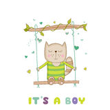 Baby Shower or Arrival Card - Baby Cat Royalty Free Stock Image
