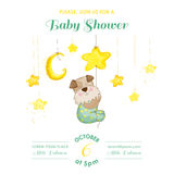 Baby Shower or Arrival Card - Baby Dog Catching Stars Royalty Free Stock Photos
