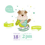 Baby Shower or Arrival Card - Baby Dog. In vector Royalty Free Stock Photos