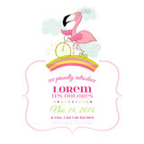 Baby Shower or Arrival Card - Baby Flamingo Girl on a Bike Stock Images