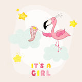 Baby Shower or Arrival Card - Baby Flamingo Girl Catching Stars Stock Images