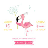 Baby Shower or Arrival Card - Baby Flamingo Girl flying Royalty Free Stock Images