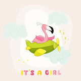 Baby Shower or Arrival Card - Baby Flamingo Girl Flying on a Plane Royalty Free Stock Image