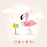 Baby Shower or Arrival Card - Baby Flamingo Girl Sending Mail Stock Image