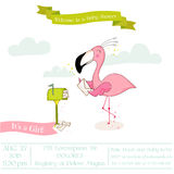 Baby Shower or Arrival Card - Baby Flamingo Girl Sending Mail Royalty Free Stock Photography