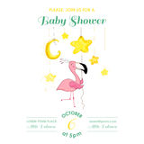 Baby Shower or Arrival Card - Baby Flamingo Girl Stock Photography