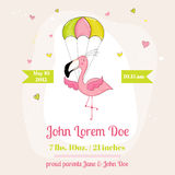 Baby Shower or Arrival Card - Baby Flamingo Girl Stock Image