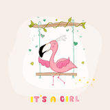 Baby Shower or Arrival Card - Baby Flamingo Girl Royalty Free Stock Images