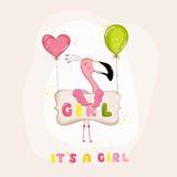 Baby Shower or Arrival Card - Baby Flamingo Girl Royalty Free Stock Photo