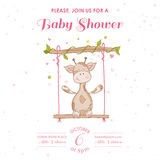 Baby Shower or Arrival Card with Baby Giraffe Royalty Free Stock Photos