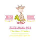 Baby Shower or Arrival Card with Baby Giraffe. Baby Shower or Arrival Card - with Baby Giraffe - in vector Stock Image