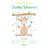 Baby Shower or Arrival Card with Baby Giraffe. Baby Shower or Arrival Card - with Baby Giraffe - in vector Royalty Free Stock Photos