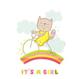 Baby Shower or Arrival Card - Baby Girl Cat on a Bike Stock Photos