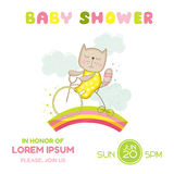 Baby Shower or Arrival Card - Baby Girl Cat on a Bike Royalty Free Stock Photo