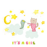 Baby Shower or Arrival Card - Baby Girl Cat Catching Stars. In vector Stock Image