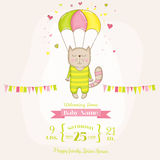 Baby Shower or Arrival Card - Baby Girl Cat Flying with a Parachute. In vector Royalty Free Stock Photography