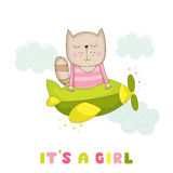 Baby Shower or Arrival Card - Baby Girl Cat Flying on a Plane Royalty Free Stock Images
