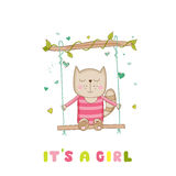 Baby Shower or Arrival Card - Baby Girl Cat Stock Photography