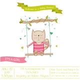 Baby Shower or Arrival Card - Baby Girl Cat Royalty Free Stock Photography